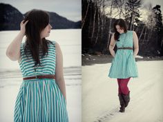 when we were home for Christmas Sarah and I took some pics down on my lake  #fashion, #striped dress, #tights