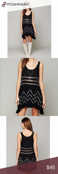 NWT Free People • Voile & Lace Trapeze Slip XS New with tags. Dotted. Black. Free People Dresses