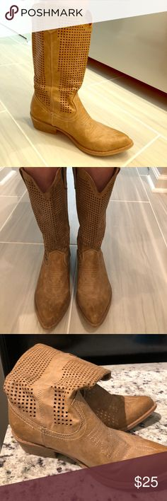 Cut-Out Tan/brown Cowboy Boots Super soft. Maybe wore 5 times. It's more of a rustic, soft, matte textures that I think looks more like real leather. They're an average width, I have very thin legs so there's extra room when I wear them. Bought them at DSW for $80ish. In excellent condition. Tiny cut out square pattern. Camel color. coconuts Shoes