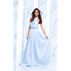 Tarik Ediz 50100 Special Occasions Long Halter Sleeveless (725 AUD) ❤ liked on Polyvore featuring dresses, gowns, cream, formal dresses, evening dresses, formal evening dresses, long formal gowns, long formal dresses and blue evening dresses
