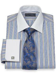 Amazon.com: Paul Fredrick Men's 2-Ply Cotton Spread Collar French Cuffs Trim Fit Dress Shirt: Clothing