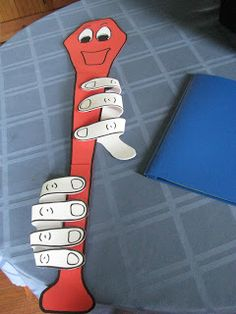Recorder Dude: make with cardboard and velcro under each finger to show how to play. 3 ft tall.