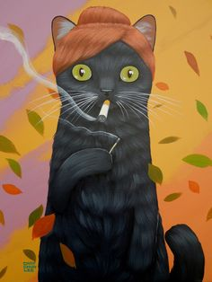 LADY CAT/ SMOKING Art Print