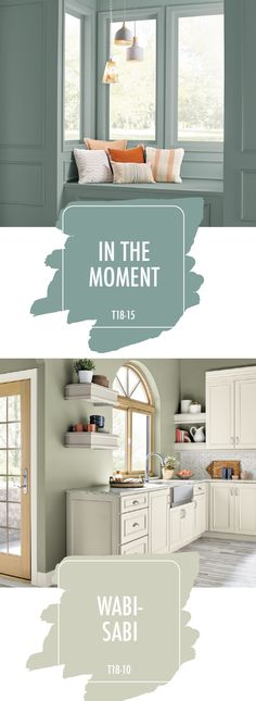 In the Moment and Wabi-Sabi, from the 2018 BEHR Color Trends. When paired with neutral accent colors, these paint shades create a calming feel that's perfect for bringing a sense of mindfulness into your home. Paint Colors For Home, House Colors, Paint Colours, Wall Painting Colors, Calming Paint Colors, Trending Paint Colors, House Painting, Diy Painting, Behr Colors