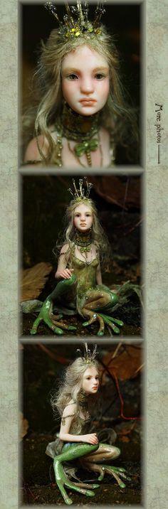 Frog Princess Handsculpted OOAK Art Doll by NenufarBlanco on Etsy
