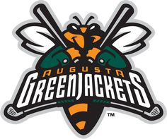 Augusta Greenjackets Primary Logo (2006) - Bumblebee holding two bats wearing a green jacket behind team name above two golf clubs