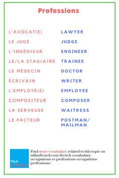 Bulk up your #Frenchvocabulary with words related to occupations & professions. + download the list in PDF format for free! Get it here: https://www.talkinfrench.com/french-vocabulary-occupations-et-professions-occupations-professions/