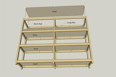 I built these shelves to create some heavy-duty storage in my garage. Garage Shelving Units, Diy Storage Shelves, Diy Garage Storage, Shed Storage, Workshop Organization, Organization Hacks, Bookcase Closet, Bookshelves, Kreg Tools