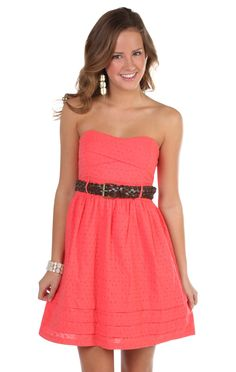 Deb Shops #coral all over embroidered eyelet strapless casual #dress