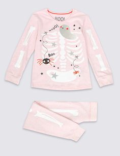 Cotton Rich Skinny Fit Skeleton Print Pyjamas (1-8 Years)