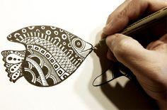 Zentangle fish in progress - micron pens on Bristol - Monica Moody