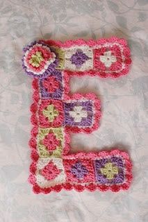 Granny square letters, what a neat idea! (I so wish I knew how to make this! GiGi needs one.. and so does Giovanni!) :).