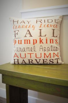 cute pillow pillow covers Fall Subway Art Pillow Cover- Subway Art - Fall Decor - Fall pillow - autumn harvest - hay rides- SALE - great for Halloween & Thanksgiving Fall Subway Art, Fall Pillows, Throw Pillows, Autumn Decorating, Decorating Ideas, Interior Decorating, Fall Harvest, Harvest Time, Fall Home Decor