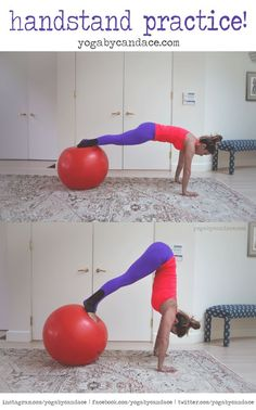 Using a stability ball for handstand practice -- love this idea! #yoga #handstand
