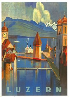 Vintage Swiss Travel Poster by Otto Baumberger, 1928 Tourism Poster, Kunst Poster, Art Graphique, Vintage Travel Posters, Illustrations And Posters, Swiss Travel, Vintage Art, Art Prints, Wall Art