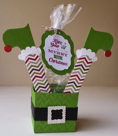 "papermadeprettier: ELF YOURSELF ""Merry Little Christmas"" elf candy box from Stampin' Up and papermadeprettier. papermadeprettier: ELF YOURSELF Merry Little Christmas elf candy box from Stampin' Up and papermadeprettier. Christmas Treat Bags, Christmas Favors, Christmas Paper Crafts, Stampin Up Christmas, Noel Christmas, Merry Little Christmas, Christmas Projects, Holiday Crafts, Christmas Decorations"