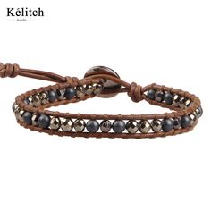 Kelitch Jewelry Classic Beaded Bracelets 1 Wrap Pyrite Agate Stone Handmade Adjustable Clasp Leather Chain Pulseras