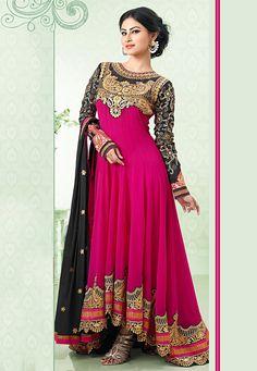 Fuchsia Pink Faux Georgette Abaya Style Churidar Kameez: KAH104