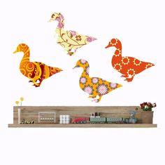 Duck Wall Decals, Nursery Decals, Duck Wall Stickers, Farm Animals, Bird Decals, Girls Bedroom Decor, Baby Girls Nursery, Baby Shower Gift by Popitay on Etsy