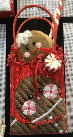 needlepoint Christmas bag ornament, canvas by Kathy Schenkel