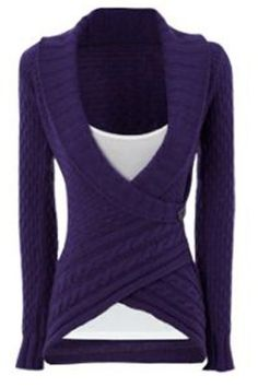 Chic Turn-Down Neck Long Sleeve Asymmetrical Women's Sweater Sweaters & Cardigans | RoseGal.com Mobile