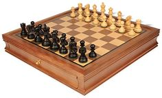 Deluxe Old Club Staunton Chess Set in Ebonized Boxwood with Walnut Chess Case  325 King >>> Details can be found by clicking on the image.