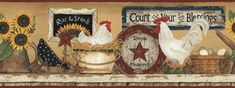 CB5539BD - Rooster/Hen /Eggs Rise and Shine Wallpaper Country Border
