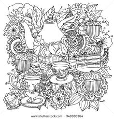Stock vector of 'Orient floral black and white ornament. With elements of time for tea, cups, teapot, cake and cupcakes. Could be use for coloring book in zentangle style. Free Printable Coloring Pages, Coloring Book Pages, Coloring Sheets, Colorful Drawings, Colorful Pictures, Mandala Art, Zentangle, Doodle Coloring, Color Patterns