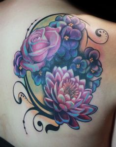 Blue Flowers Back Tattoo by Rain at Body Language Tattoo #blue #flower #tattoo #tattoosforgirls