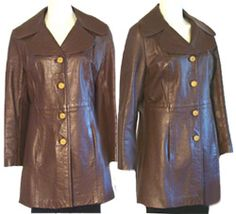 Vintage 1970s Brown Leather Coat Jacket Made in Great Britain | NeldasVintageClothing - Clothing on ArtFire