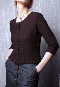 """Купить кофта - """" Prada"""" - коричневый, однотонный, трикотаж, Трикотажная кофта, модная одежда, женственность"""