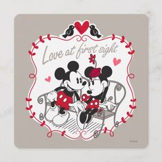Mickey and Minnie - Love at First Sight Disney Valentines, Valentines Day Birthday, Valentines For Kids, Valentine Day Cards, Happy Valentines Day, Disney Birthday, Mickey And Minnie Love, Mickey And Friends, Mickey Minnie Mouse