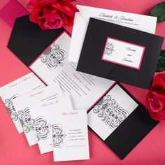 Avant-garde Fuchsia and Black Pocket Wedding Invitation
