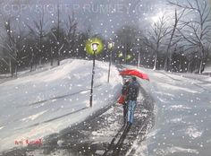 PETE RUMNEY FINE ART BUY ORIGINAL ACRYLIC PAINTING SNOW COUPLE WALK IN PARK in Art, Direct from the Artist, Paintings | eBay