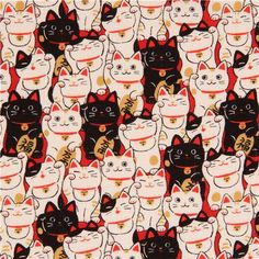 black light cream fortune cat Dobby fabric by Cosmo from Japan 2