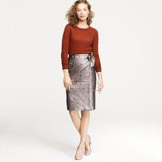 J Crew metallic shimmer brocade skirt.