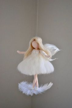 White Fairy Felted Doll Wool Ornament : Fairy on the