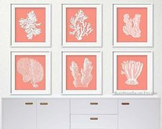 Coral Wall Art Gold Coral Print Set of 6 Coral Art Prints Coral Wall Art, Coral Walls, Green Wall Art, Coral Bedroom Decor, Bohemian Bedroom Decor, Coral Color Decor, Pink And White Background, White Art, Wall Art Decor