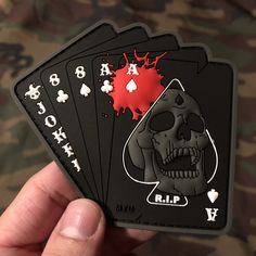 Ace Of Spade Dead Mans Hand Gothic Skull PVC Rubber Morale Patch Made & Sold by Miltacusa® Specs High Quality PVC Rubber Patch Size: inch Hook Backing (Loop Not Included) Velcro Patches, Cool Patches, Pin And Patches, Skull Patches, Geek Gadgets, Cool Gadgets, Electronics Gadgets, Badges, Plastic Playing Cards
