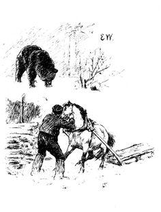 """""""Vel gjort og ille lønnet"""" illustrert av Erik Werenskiold 23 November, Fairy Tales, Horses, Black And White, Drawings, Illustration, Pretty, Painting, Inspiration"""