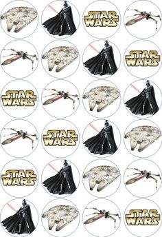 24 x 4.5cm STAR WARS #1 EDIBLE RICE/WAFER PAPER CUPCAKE TOPPERS | eBay