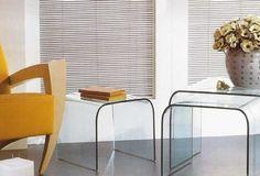 Couchtisch TRIO aus10mm gebogenen Klarglas. Italienischer Flair  auch für kleine  Wohnzimmer.   Maße:  40x40x38cm 48x45x41cm 56x50x45cm  Farben:  Klarglas, Weiß, Schwarz, Rot, Gelb, Braun, Grün, Grau,Blau. Ab € 660,-- Glass Furniture, Table, Home Decor, Sofa Side Table, Small Sitting Rooms, Yellow, Brown, Colors