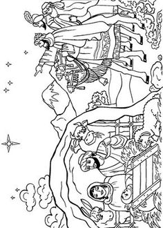 Nativity Scene Coloring Pages - ScribbleFun Nativity Coloring Pages, School Coloring Pages, Bible Coloring Pages, Christmas Coloring Pages, Adult Coloring Pages, Coloring Books, A Christmas Story, Christmas Colors, Christmas Embroidery Patterns