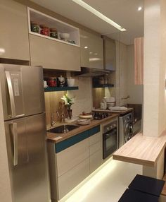 likes, 73 comments - decor*house*home*casa*int*arq ( on ins Apartment Kitchen, Kitchen Interior, Kitchen Dinning, Kitchen Decor, Design Set, House Design, Design Ideas, Small U Shaped Kitchens, Cuisines Design