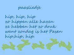 paasliedje. Hippen als hazen en dan maar zingen! www.dewereldvanwiepje.nl