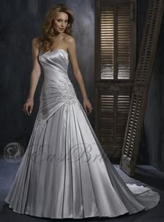 Beaded taffeta a line corset silver wedding dress wedding ideas frosted silver satin a line strapless simple wedding dress mst018 junglespirit Image collections