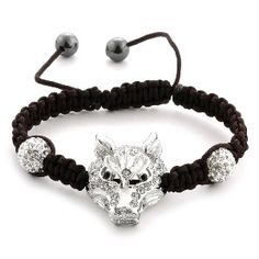 Creature Couture Hungry Wolf  - Shamballa Friendship Bracelet with Black and White Austrian Crystal (Adjustable)