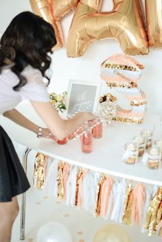 Pink, Gold and Silver Dessert Table