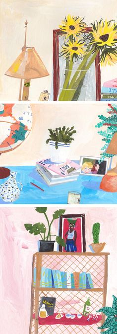 Interested in the places that people inhabit, Liz Rowland paints intimate interior illustrations of spaces around the world.