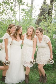 Short, cream lace bridesmaid dresses with cap sleeves...and forget the shitty-looking cowboy boots...gah that's so played-out!